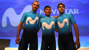 Valverde, Nairo y Landa, en la presentación de Movistar