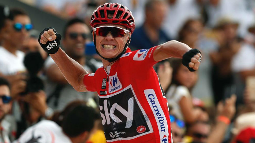 Froome celebra un triunfo durante la última Vuelta a España