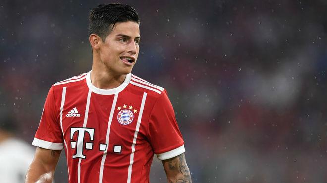 James durante un encuentro con el Bayern.