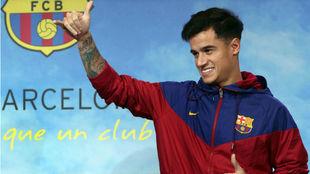 Coutinho, durante su presentación como jugador del Barcelona
