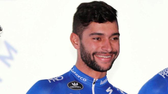 Fernando Gaviria, durante la presentación del Quick Step.