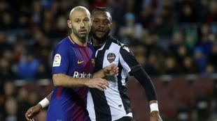 Mascherano en su último partido con el Barça
