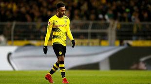 Aubameyang en un partido con el Borussia Dortmund