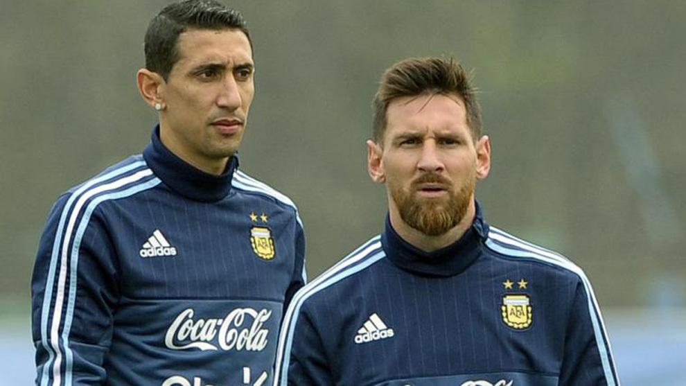 Di María y Messi, en un entrenamiento.