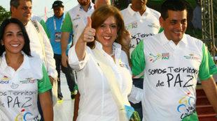 Clara Luz Roldán y Dumek Turbay en el inicio de la Vuelta a Colombia...