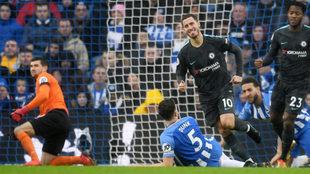 Hazard celebra su gol al Brighton