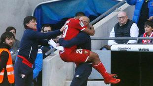 Muriel celebra su gol con Montella