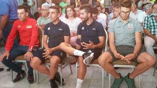 Vincenzo Nibali, Max Richeze, Fernando Gaviria y Filippo Ganna, en San...