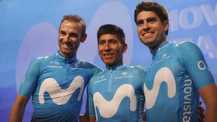 Valverde, Nairo y Mikel Landa, en la presentación del equipo
