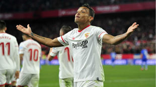 Luis Muriel celebra su último gol ante el Getafe
