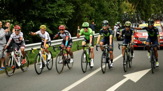 Los siete corredores colombianos en el pasado Tour. Foto: AFP