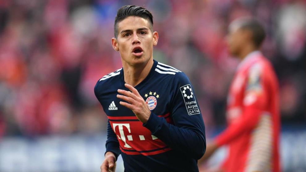 0670df659701a James Rodríguez celebra un gol con el Bayern esta temporada