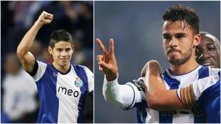 James y Diego Reyes, celebrando goles con el Oporto