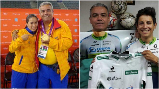 El doctor Gustavo Castro junto a Mariana Pajón y Esteban Chaves /...