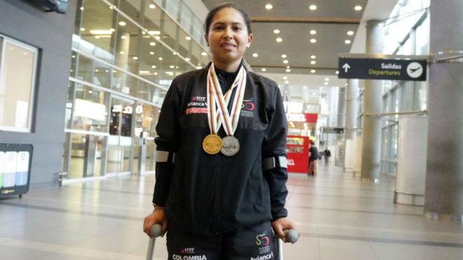 Munévar con sus medallas mundialistas