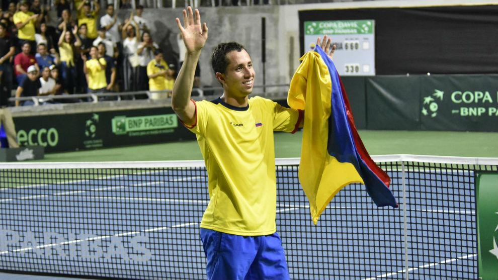 Celebración de Daniel Galán tras ganar el cuarto punto en Copa Davis