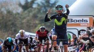 Así celebró Valverde su quinto triunfo en la Flecha Valona / AFP