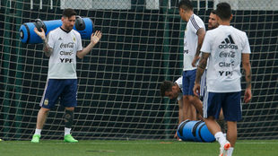 Messi, durante un entrenamiento con Argentina.
