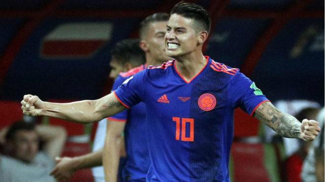 James festeja la victoria ante Polonia