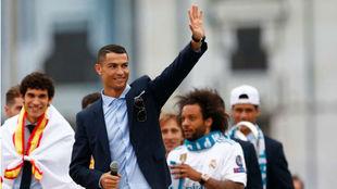 Cristiano, durante la celebración de la Champions esta pasada...