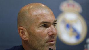 Zidane, en la rueda de prensa de su despedida con el Madrid