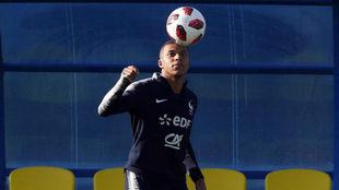 Mbappé, durante un entrenamiento con Francia en este Mundial