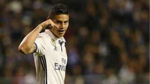 James, tras marcar un gol con el Real Madrid