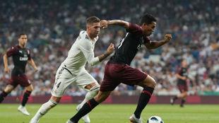 El delantero estuvo presente en el amistoso ante el Real Madrid