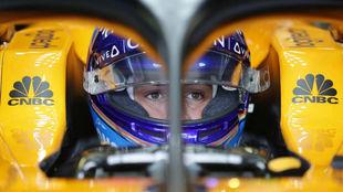 Fernando Alonso, en el 'cockpit' del McLaren / Steven Tee
