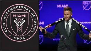 Beckham presenta el escudo de su nuevo equipo en la MLS.