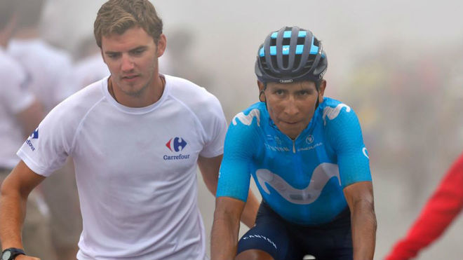 Quintana, tras la etapa de la Vuelta en el Balcón de Bizkaia