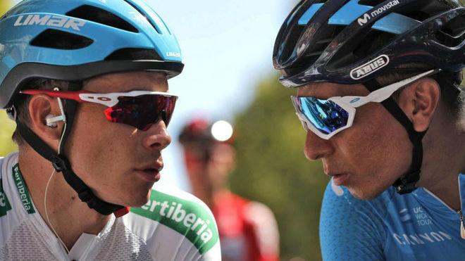 Supermán López y Nairo charlan antes de la etapa de Lleida