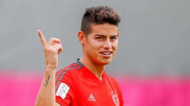 James, durante el entrenamiento previo al duelo con el Leverkusen
