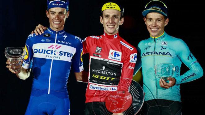 Podio final de la Vuelta 2018: Yates, Mas y 'Superman' López