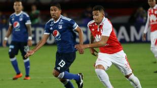 Cristian Marrugo y Yeison Gordillo durante una acción de juego.