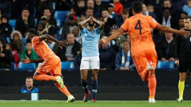 Image result for man city 1-2 lyon