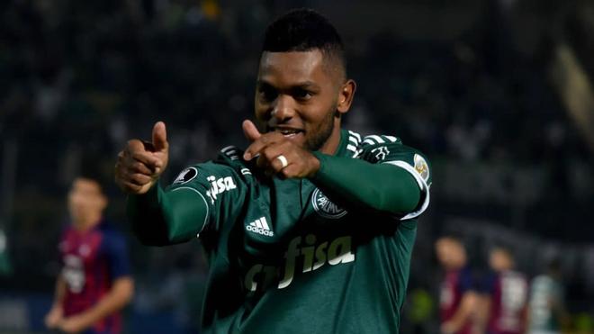 Miguel Ángel Borja celebra un tanto ante Cerro Porteño