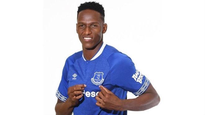 Yerry Mina, el día de su presentación como jugador del Everton