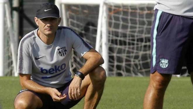 Valverde en un entrenamiento con el equipo catalán