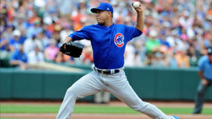 José Quintana, pitcher colombianos en los Cachorros de Chicago.