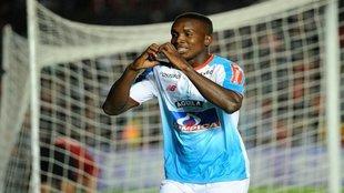 Daniel Moreno festeja su tanto ante Colón, por el juego de vuelta de...