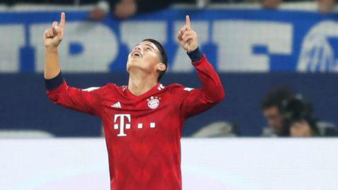 James celebra un gol esta temporada con el Bayern