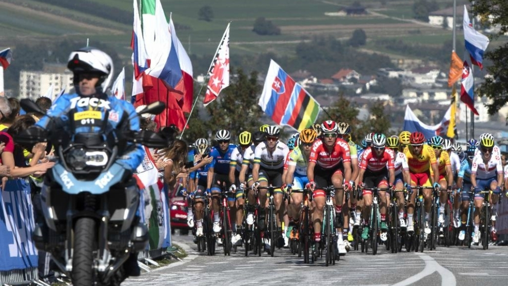 Prueba élite masculina en ruta del Mundial de Innsbruck 2018.