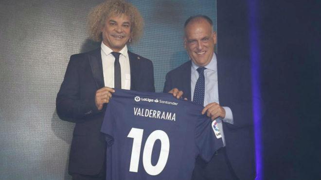 Carlos Valderrama, en su presentación como embajador de LaLiga...