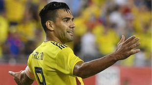 Radamel Falcao García durante un partido con la Selección Colombia.