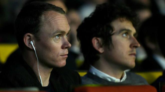 Froome, junto a Geraint Thomas en el acto de presentación / Agencias