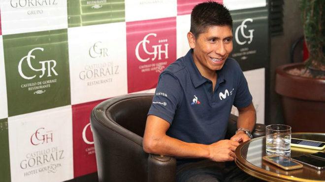 Nairo Quintana durante la rueda de prensa que concedió
