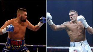 Bellew (35) y Usyk en acción (31) / Fotos: Getty