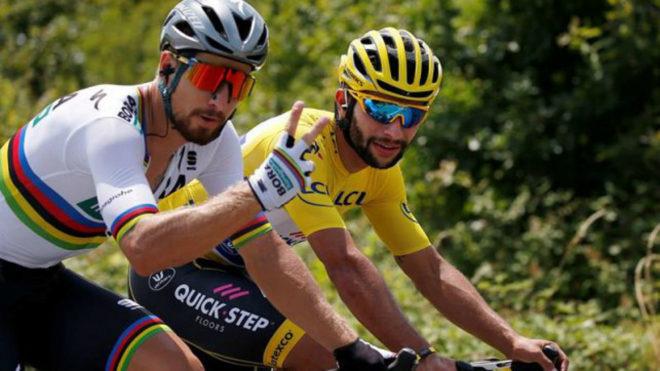 Gaviria y Sagan en plena competencia del Tour de Francia 2018