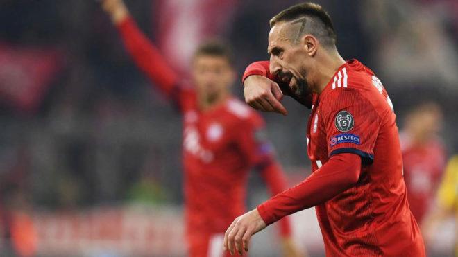 Ribéry, durante un partido con el Bayern